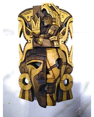 """Archaeological mask, large, decorative wood,""""life and death maya"""" carved by hand"""