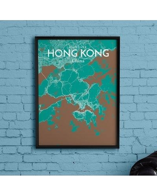 """Wrought Studio 'Hong Kong City Map' Graphic Art Print Poster in Nature CJ264659 Size: 27.6"""" H x 19.7"""" W x 0.05"""" D"""