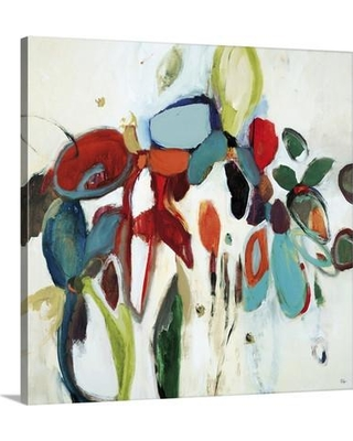 "Canvas On Demand 'Floral Hints' by Lisa Ridgers Painting Print on Canvas 2288973_24 Size: 16"" H x 16"" W x 1.25"" D"