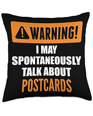 Postcards Gifts Warning I May Spontaneously Talk About Postcards Throw Pillow, 18x18, Multicolor