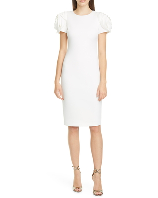 Women's Badgley Mischka Collection Rose Sleeve Cocktail Dress, Size 8 - Ivory