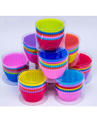 PPUNSON Silicone Cupcake Liners/Baking Cups/Muffin Molds, Pack of 12, Multi-Colored