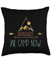 Matching Family Camping Gifts Retro New Camper First Time Matching Family Camp Throw Pillow, 18x18, Multicolor