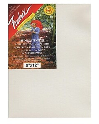 """Fredrix Red Label Stretched Cotton Canvas, 9"""" X 12"""", 3/Pack (28900-Pk3),Size: med"""