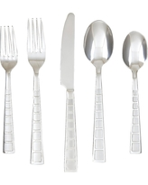 Cambridge Mosaic Sand 20 Piece Flatware Set, Silver