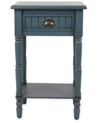 Decor Therapy Bailey Beadboard 1-Drawer Accent Table in Antique Navy