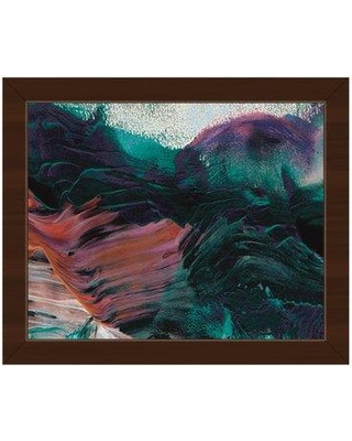 """Click Wall Art 'Toasted Ocean Storm Abstract' Framed Painting Print on Canvas ABS0016193FRA Size: 22.5"""" H x 26.5"""" W x 1"""" D Frame Color: Espresso"""