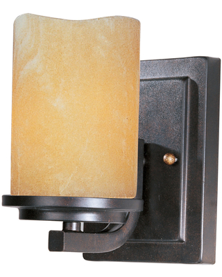 """Maxim Lighting Luminous 7"""" Stone Candle Glass Wall Sconce in Rustic Ebony"""