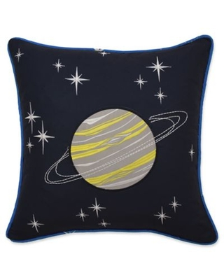 Waverly Kids Space Adventure Square Throw Pillow in Black