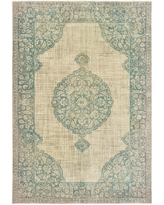 """Rutherford Faded Medallion Area Rug (9'10"""" x 12'10"""" - Cream/Blue)"""