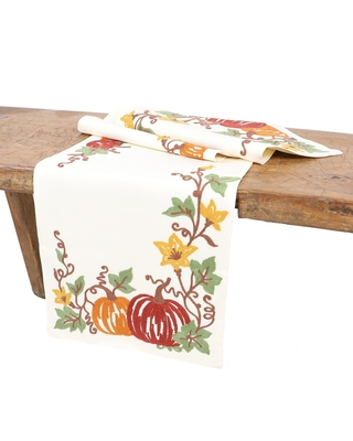 """Happy Fall Pumpkins Crewel Embroidered Table Runner 16""""x36"""", Cream"""