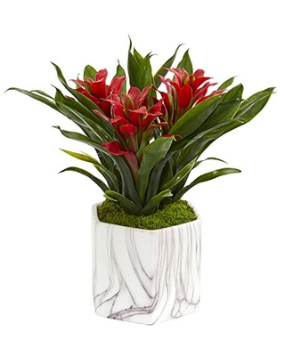 Nearly Natural Bromeliad Artificial Marble Finished Vase Silk Plants, Red