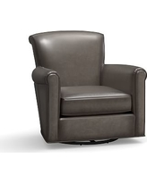 Irving Leather Swivel Glider, Polyester Wrapped Cushions, Leather Burnished Wolf Gray
