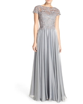 Women's La Femme Lace & Satin A-Line Gown, Size 14 - Grey