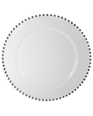 """10 Strawberry Street Belmont 13"""" Charger Plate, Set of 4, Silver"""