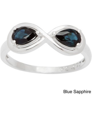 Sterling Silver Pear-cut Birthstone 2-stone Infinity Ring (Size 5 - September - Sapphire)