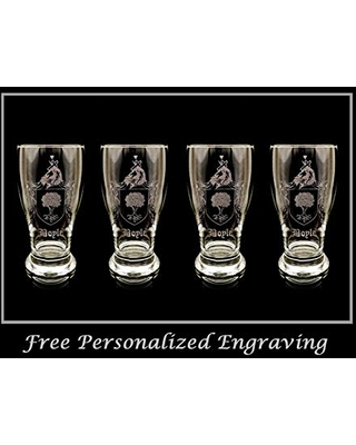 Boyle Irish Coat of Arms Pint Glass Set of 4- Free Personalized Engraving, Family Crest Custom Beer Glass