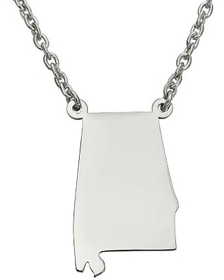 Personalized Sterling Silver Alabama Pendant Necklace, One Size , No Color Family