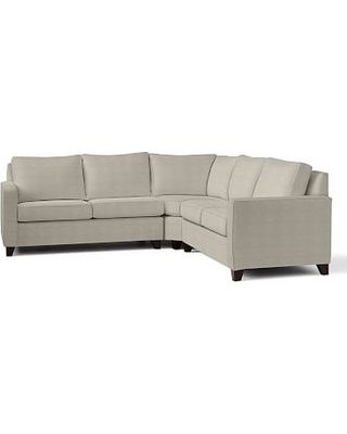 Cameron Square Arm Upholstered 3-Piece L-Shaped Wedge Sectional, Polyester Wrapped Cushions, Performance Heathered Tweed Pebble