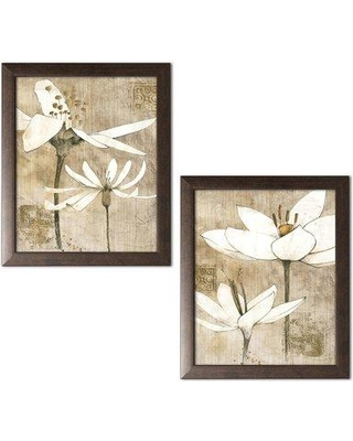 """Winston Porter 'Pencil Floral I and Pencil Floral II' 2 Piece Graphic Art Print WNST6385 Format: Brown Framed Size: 11"""" H x 14"""" W x 0.75"""" D"""