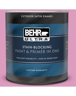 BEHR ULTRA 1 qt. #690B-4 Pink Begonia Satin Enamel Exterior Paint and Primer in One