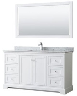 Avery 60-inch Single Vanity, Marble Top, Square Sink, 58-inch Mirror (White)