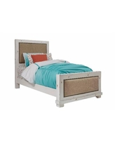Willow Complete Twin Upholstered Bed in Distressed White - Progressive Furniture P610-25/26/27