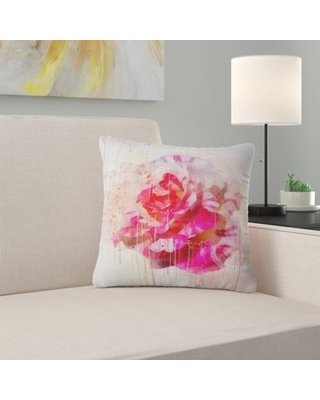"""Floral Rose with Watercolor Splashes Pillow East Urban Home Size: 18"""" x 18"""", Product Type: Throw Pillow"""