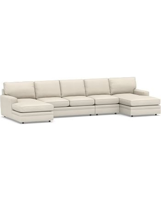 Pearce Square Arm Upholstered 4-Piece Chaise Sectional, Down Blend Wrapped Cushions, Twill Cream