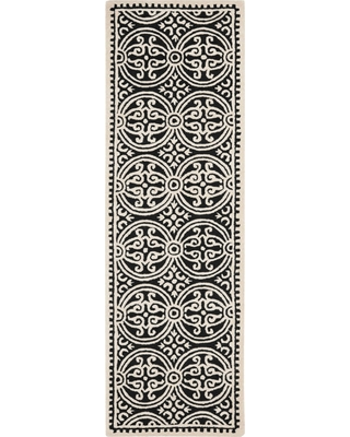 "2'6""X12' Geometric Runner Black/Ivory - Safavieh"