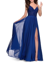 La Femme Sparkle Lace Chiffon Gown, Size 8 in Marine Blue at Nordstrom