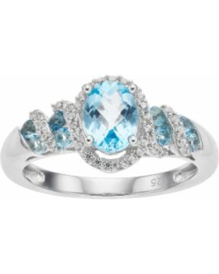 Sterling Silver Blue Topaz & Lab-Created White Sapphire Oval Halo Ring, Women's, Size: 7