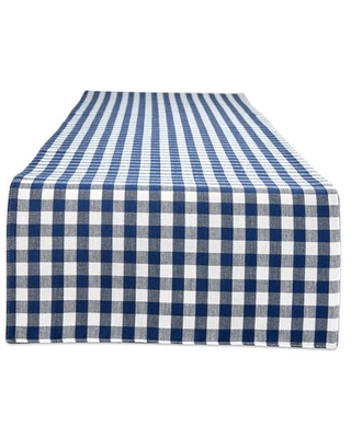 """DII Navy/Off White Reversible Gingham/Buffalo Check Table Runner 14x108, 14x108"""""""