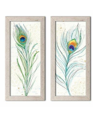 """Bloomsbury Market 'Peacock Garden V and Peacock Garden VI' 2 Piece Graphic Art Print Set CMNZ3463 Format: Distressed White Framed Size: 8"""" H x 20"""" W x 0.75"""" D"""