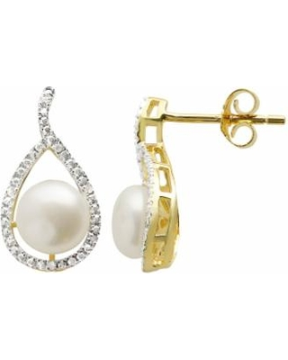 d42f55d61 PearLustre by Imperial Freshwater Cultured Pearl Diamond Accent 14k Gold  Over Silver Teardrop Stud Earrings,