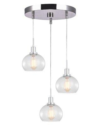 """Breakwater Bay Glassman 3-Light Cluster Dome Pendant Finish: Satin Nickel, Shade, Fabric in Clear Seedy, Size Large ( 17"""" - 29"""" wide) 