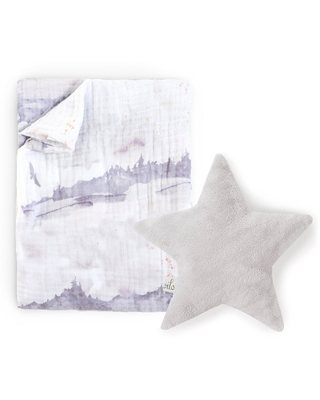 Oilo Swaddle Blanket & Silver Star Dream Pillow Set in Misty Mountain at Nordstrom