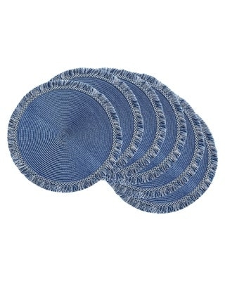 DII Nautical Blue Round Fringed Placemat Set/6 (Blue)