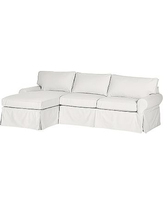 PB Basic Slipcovered Right Arm 3 Piece Corner Sectional, Down Blend Wrapped Cushions, Sunbrella(R) Performance Slub Tweed White