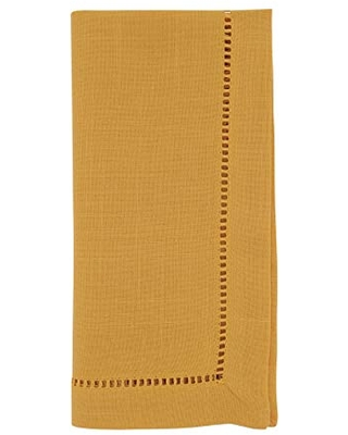 """SARO LIFESTYLE Rochester Collection Table Napkins with Hemstitched Border (Set of 12), 22"""", Mustard"""