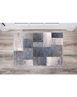Rugshop Modern Distressed Boxes Area Rug 2' x 3' Blue