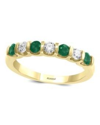 Effy Yellow Gold 1/4 ct. t.w. Diamond and 3/8 ct. t.w. Natural Emerald Ring in 14k Yellow Gold
