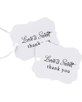 25ct Love is Sweet Wedding Thank You Favor Cards, White Black