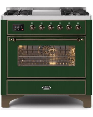 """UM09FDNS3EGB 36"""" Majestic II Series Dual Fuel Natural Gas Range with 6 Burners and Griddle 3.5 cu. ft. Oven Capacity TFT Oven Control Display"""
