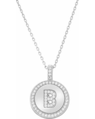 """""""Sterling Silver Cubic Zirconia Initial Pendant Necklace, Women's, Size: 18"""", White"""""""