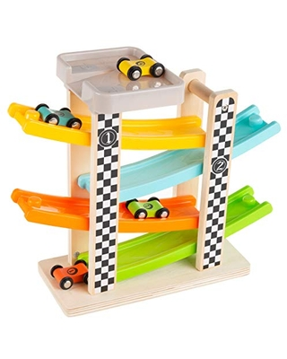 Hey! Play! Toy Race Track and Racecar Set- Wooden Car Racer with 4 Colorful Cars with Moving Wheels, Ramps, Brown (80-YC120272)