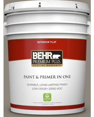 BEHR Premium Plus 5 gal. #T16-08 Fifth Olive-Nue Flat Low Odor Interior Paint and Primer in One, Fifth Olive Nue