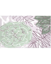 """e by design Flowers and Fronds Floral Print Throw Blanket HFN192 Size: 60"""" L x 50"""" W, Color: Pale celery (Green)"""