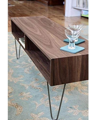 Walnut Coffee Table with Stainless Hairpin Legs