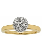 Yellow Rhodium-Plated Sterling Silver 1/4-ct. T.W. Diamond Ball Ring, Women's, Size: 7, White